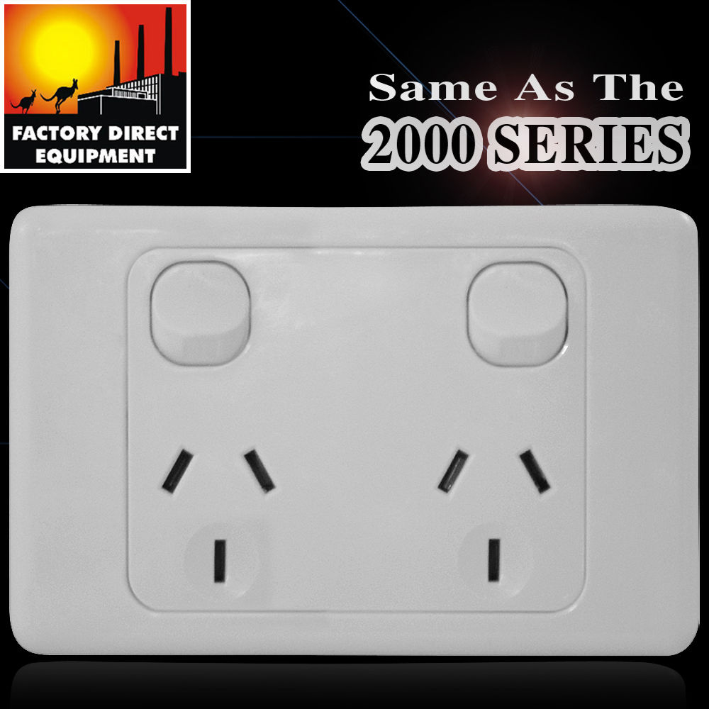 10 X FDE Double Power Point Socket GPO 240V 10 AMP With Removable Face Plate
