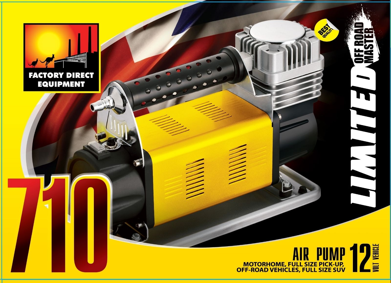 FDE 12v Air Compressor 4×4 4wd Heavy Duty Off Road. 160L/Min-Deflation System