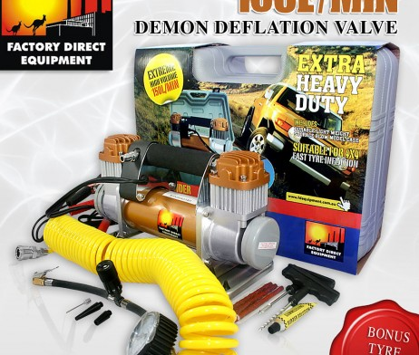 FDE 12v air compressor 4×4 4wd heavy duty off road. 150L/min-Deflation system